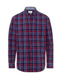 rotes und dunkelblaues Langarmhemd mit Schottenmuster von Brax