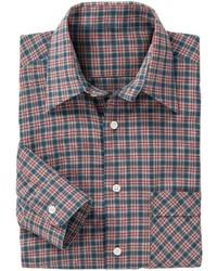 rotes und dunkelblaues Langarmhemd mit Schottenmuster von Classic