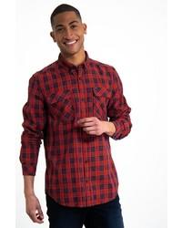 rotes und dunkelblaues Langarmhemd mit Schottenmuster von GARCIA