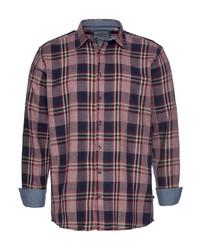rotes und dunkelblaues Langarmhemd mit Schottenmuster von JACK'S
