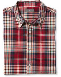 Rotes und dunkelblaues Langarmhemd mit Schottenmuster von L.L. Bean