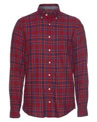 rotes und dunkelblaues Langarmhemd mit Schottenmuster von Marc O'Polo