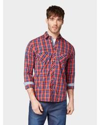 rotes und dunkelblaues Langarmhemd mit Schottenmuster von Tom Tailor