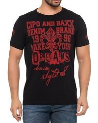 rotes und schwarzes bedrucktes T-Shirt mit einem Rundhalsausschnitt von Cipo & Baxx