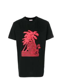 rotes und schwarzes bedrucktes T-Shirt mit einem Rundhalsausschnitt von Palm Angels