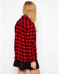rotes und schwarzes Businesshemd mit Karomuster von Only