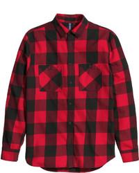 rotes und schwarzes Flanell Langarmhemd mit Karomuster