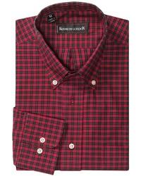 rotes und schwarzes Langarmhemd mit Karomuster