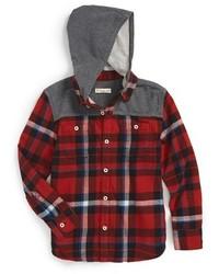 rotes und schwarzes Langarmhemd mit Schottenmuster