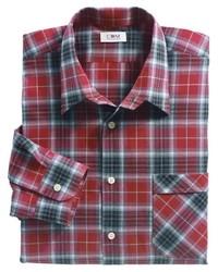 rotes und schwarzes Langarmhemd mit Schottenmuster von Classic