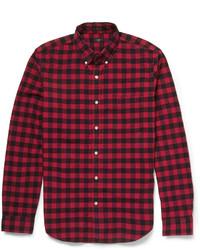 rotes und schwarzes Langarmhemd mit Vichy-Muster