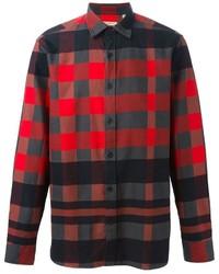 rotes und schwarzes Langarmhemd mit Vichy-Muster von Burberry