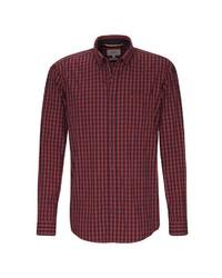 rotes und schwarzes Langarmhemd mit Vichy-Muster von camel active