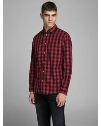 rotes und schwarzes Langarmhemd mit Vichy-Muster von Jack & Jones