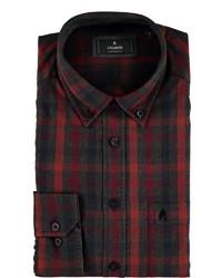 rotes und schwarzes Langarmhemd mit Vichy-Muster von RAGMAN
