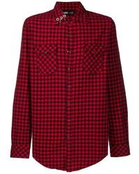 rotes und schwarzes Langarmhemd mit Vichy-Muster von Vision Of Super