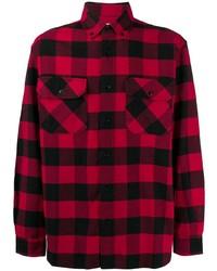 rotes und schwarzes Langarmhemd mit Vichy-Muster von Woolrich