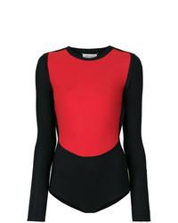 3122256498e0 Rotes und schwarzes Langarmshirt für Damen kombinieren (17 ...