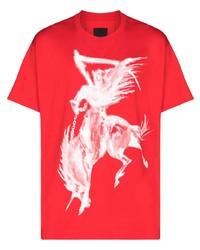 rotes und weißes bedrucktes T-Shirt mit einem Rundhalsausschnitt von Givenchy