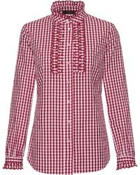 rotes und weißes Businesshemd mit Vichy-Muster von Reitmayer