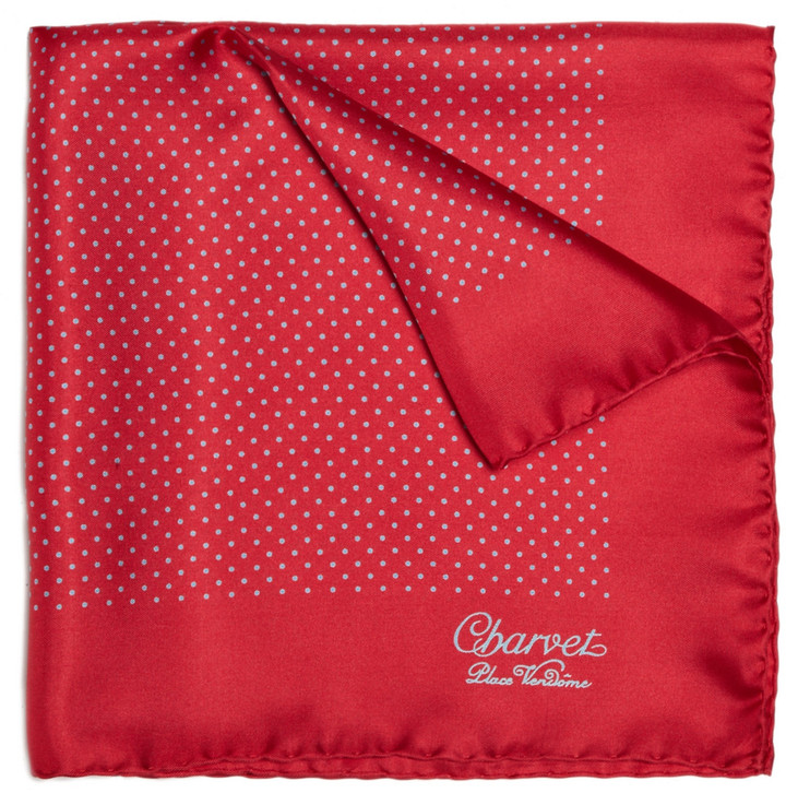 rotes und weißes gepunktetes Einstecktuch von Charvet