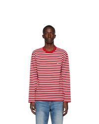 rotes und weißes horizontal gestreiftes Langarmshirt