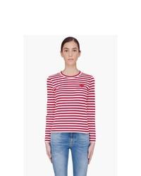 Rotes und weißes horizontal gestreiftes Langarmshirt von Comme Des Garons Play