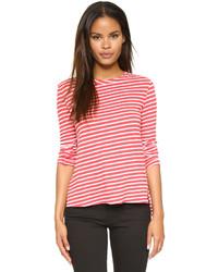 Rotes und weißes horizontal gestreiftes Langarmshirt von Pam & Gela