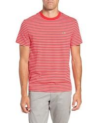 rotes und weißes horizontal gestreiftes T-Shirt mit einem Rundhalsausschnitt