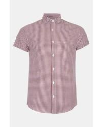 rotes und weißes Kurzarmhemd mit Vichy-Muster