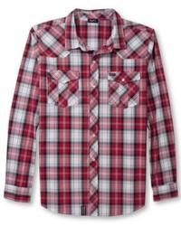 rotes und weißes Langarmhemd mit Schottenmuster