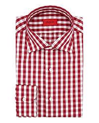 rotes und weißes Langarmhemd mit Vichy-Muster
