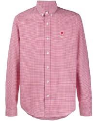 rotes und weißes Langarmhemd mit Vichy-Muster von Ami Paris