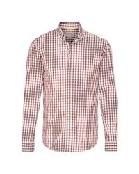 rotes und weißes Langarmhemd mit Vichy-Muster von camel active