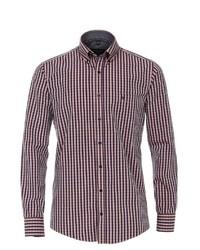 rotes und weißes Langarmhemd mit Vichy-Muster von Casamoda