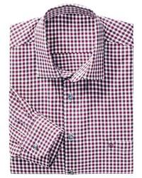 rotes und weißes Langarmhemd mit Vichy-Muster von Classic