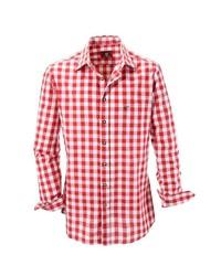 rotes und weißes Langarmhemd mit Vichy-Muster von OS-TRACHTEN