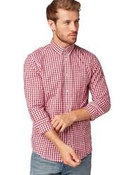 rotes und weißes Langarmhemd mit Vichy-Muster von Tom Tailor