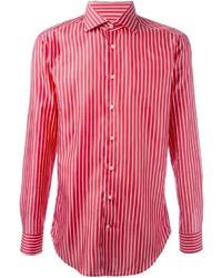 rotes vertikal gestreiftes Langarmhemd