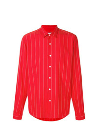rotes vertikal gestreiftes Langarmhemd von AMI Alexandre Mattiussi