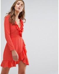 rotes Wickelkleid aus Chiffon
