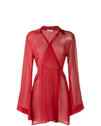 rotes Wickelkleid aus Netzstoff von Amir Slama