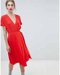 rotes Wickelkleid von Warehouse