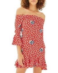 schulterfreies Kleid mit Blumenmuster