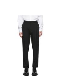 schwarze Anzughose aus Seersucker