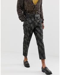 schwarze Anzughose mit Blumenmuster von ASOS Edition