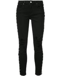 schwarze Baumwolle enge Jeans mit Destroyed-Effekten von Amiri