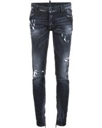 schwarze enge Jeans aus Baumwolle mit Destroyed-Effekten von Dsquared2