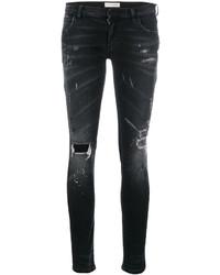 schwarze Baumwolle enge Jeans mit Destroyed-Effekten von Faith Connexion
