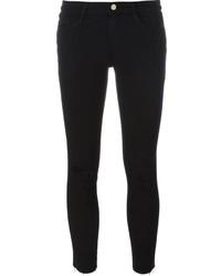 schwarze Baumwolle enge Jeans mit Destroyed-Effekten von Frame